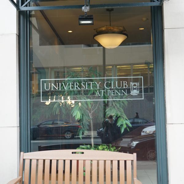 University Club logo on window